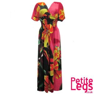 Kerry Kimono Style Maxi Dress | Tropical Floral Colours: Pink and Orange | UK Size 6/8 | Petite Height 5ft1